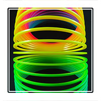 A colourful plastic Slinky toy