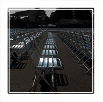 Rows of seats set up for a outdoor concert in Berlin Germany