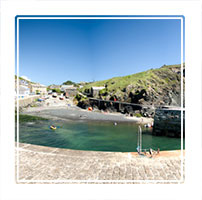 Mullion cove, a small inlet for small fishing vessels in Cornwall, England UK