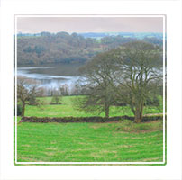 Panoramic of Rutland reservoir near Leek in the Derbyshire Peak District, England UK