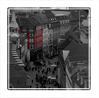 Selective colour photograph of one of Copenhagens many picturesque Streets
