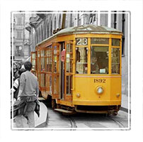Selective colour photograh of an old milan Tram. Winner of an Ephotozine readers choice award