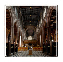 The Cathedral Nave in Manchesters central Cathedral England