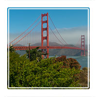 The Goldengate bridge, one of Californian icons spanning the San Francisco bay, California USA