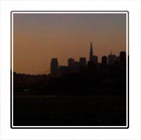 Bay, a twilight shot of San Francisco bay showing a panoramic view of the city in California USA