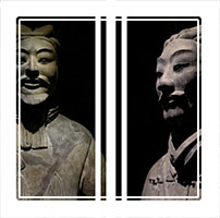 Three terracotta warriors depicting the armies of Qin Shi Huang, the first Emperor of China from Xian China