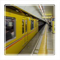 An approaching metropolitian train on the Tokyo metro, carrying a total of seven million passengers per day Tokyo Japan